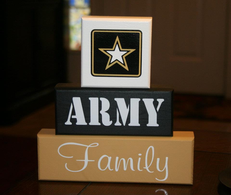 ARMY Family Blocks Military Decor Shelf Sitter
