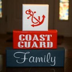 Coast Guard Military Family Blocks Shelf Sitter